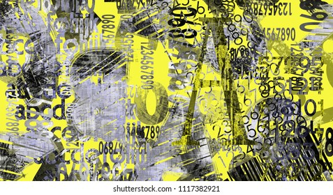 art abstract grunge collage with  number, geometric and typo elements, colorful  background with yellow, old gold and black colors