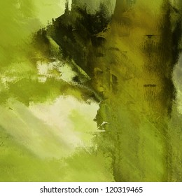 art abstract grunge dust textured monochrome background in shades of green and old gold colors