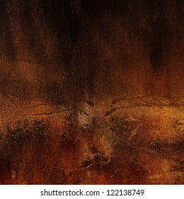 art abstract grunge old gold and dark red, orange, brow and black dust textured monochrome background