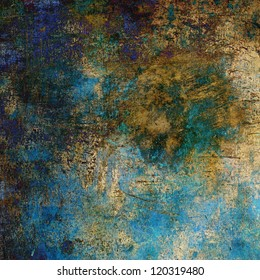art abstract grunge textured background with blue, violet, brown and golden blots