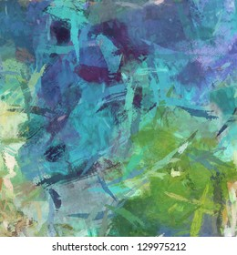 art abstract painted background in blue and green