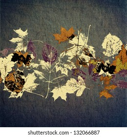 art autumn background, card with white, black and orange silhouette of leaves on dark basis and space for text