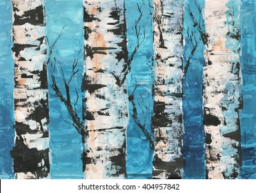 Art of birch trees against blue sky painted by acrylic.