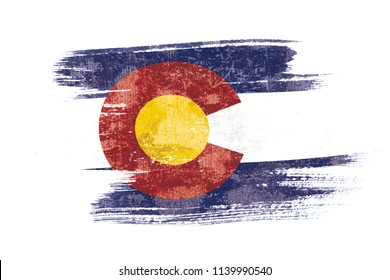 Art brush watercolor painting of Colorado flag blown in the wind isolated on white background illustration.