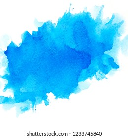 art brushed blue watercolor background.