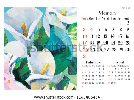 Art Calendar 2019 Abstract Oil Paintig Stock Illustration 1165406434