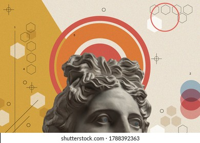 Art collage with antique sculpture of Apollo face and numbers, geometric shapes. Beauty, fashion and health theme. Science, research, discovery, technology concept. Zine culture. Pop art style.