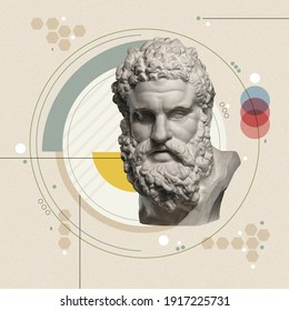 Art collage with antique sculpture of Heracles face and numbers, geometric shapes. Science, research, discovery, technology concept. Beauty, fashion and health theme. Zine culture. Pop art style.