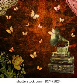 Art collage with vintage suitcases, gramophone and butterflies