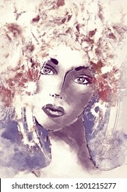 art colorful illustration with close-up face of beautiful girl with floral curly hair on background in graphic and watercolor vintage style