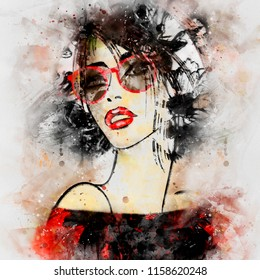art colorful illustration with face of beautiful girl with glasses, with red straight short  hair, in party dress on white background in graphic and watercolor