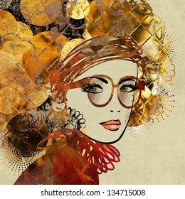 art colorful sketching of beautiful girl face with glasses and gold, brown and black ornamental hair on beige background. Vector version is also in my gallery.