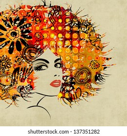 art colorful sketching beautiful girl face with red curly hair, on sepia background