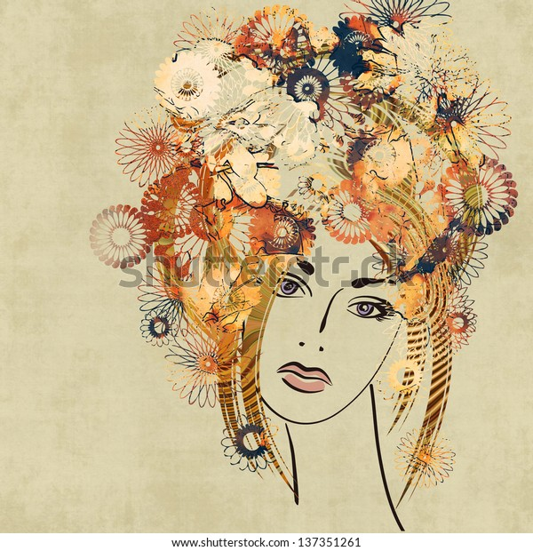 art colorful sketching beautiful girl face with red floral curly hair, on sepia background. Vector version is also in my gallery.