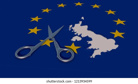 Art Concept about Brexit.  Fabric flag of the European Union with the country of the United Kingdom cut out with scissors. 3D Rendering.