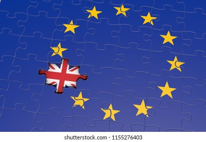 Art Concept of Brexit. Puzzle of europe without a piece letting see the flag of UK. 3D Rendering.