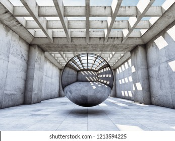 Art concept concrete tunnel with metal ball. 3D illustration.