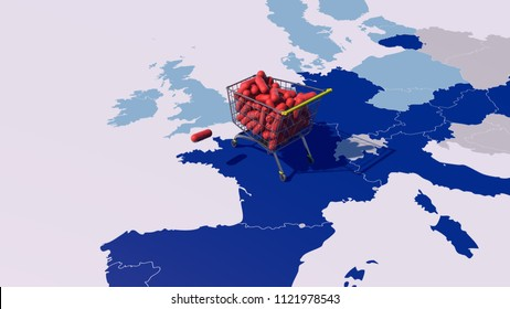 Art Concept of Pharmaceutical companies spending millions to mitigate Brexit. 3D Rendering.