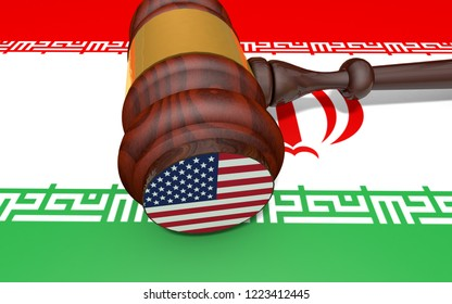 Art Concept of U.S. for Iranian sanctions return to heightened export sanctions.  USA gavel on Iranian flag. 3D Rendering.