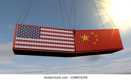 Art concept of USA and China trade war. US and chinese flags crashed cargo on skywith sun. Economic dispute over import and exports . 3D Rendering.