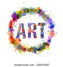 Art concept, watercolor splashes as a sign isolated on white