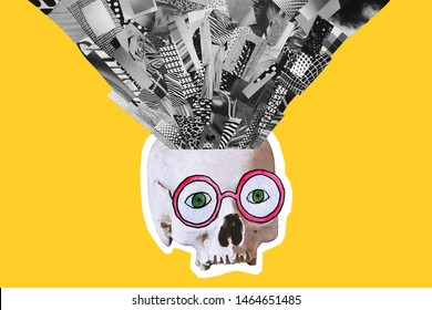 Art contemporary collage. Made of magazines and colorful paper cut clippings with hand drawn sketches. Zine culture. Skull with iroquois and watercolor glasses on yellow background.