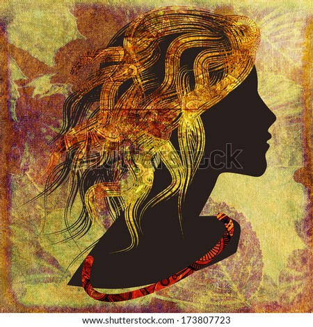 art dark silhouette profile of beautiful girl with golden curly hair on colorful floral background