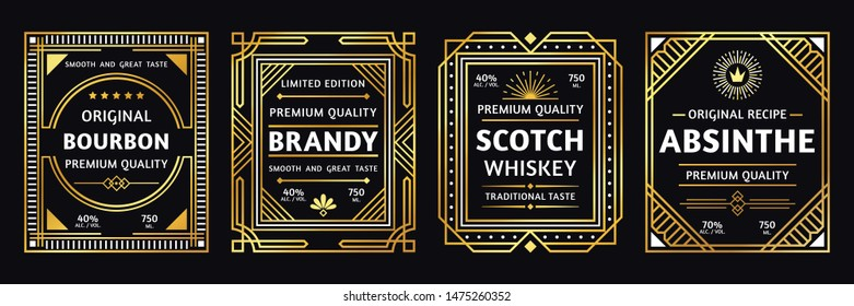 Art deco alcohol label. Vintage bourbon scotch, retro brandy and absinthe labels. Craft alcohol beverage logo, brand whisky and bourbon sticker elegant gold design illustration set