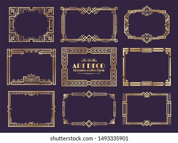Art deco borders. 1920s golden frames, nouveau fancy decorative elements for vintage posters.  art deco ornament framed design set