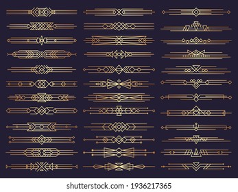 Art deco borders. Retro dividers shapes decorative ornament elements abstract graphics template