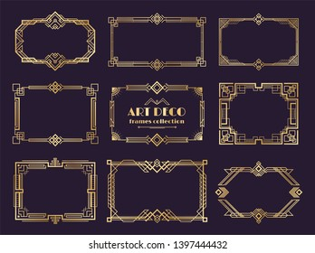 Art deco borders set. Golden 1920s frames, nouveau luxury geometric style, abstract vintage ornament.  art deco elements set