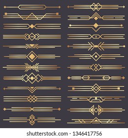Art deco divider. Gold retro arts border, 1920s decorative ornaments and golden dividers borders, minimal elegant golden ornament frame for wedding invitation card.  design isolated icons set