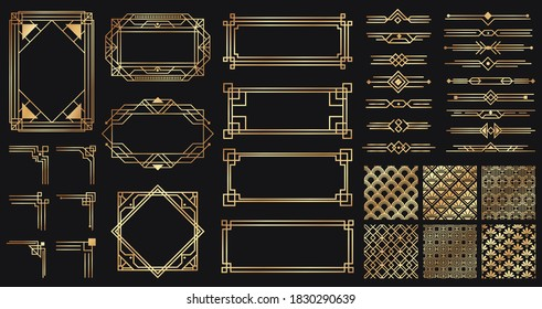 Art deco elements set. Creative golden borders and frames. Dividers and headers for luxury or premium design. Old antique elegant elements isolated on dark . Decoration for cards  illustration