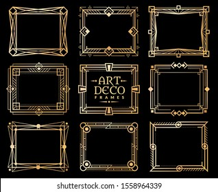 Art deco frames. Gold gatsby deco frame border, golden romantic invitation line pattern. 1920s retro luxury art design texture ornament shape framed elements