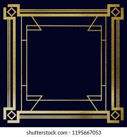 Art Deco gold frame on navy background