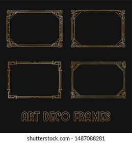 Art Deco Horizontal Gold Frames and Borders Set. Trendy Gatsby Design Elements. Retro Art Deco Style. Isolated. Raster.