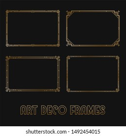 Art Deco Horizontal Gold Frames and Borders Set. Trendy Gatsby Design Elements. Retro Art Deco Style. Isolated. Raster.