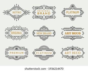 Art deco labels. Frames vintage luxury cafe antique elements outline restaurant arts collection