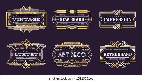 Art deco labels. Vintage ornamental logos, 1920s vintage golden badge, nouveau decorative banners. art deco emblems illustration