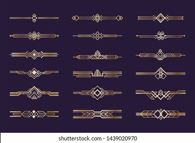 Art deco ornament. 1920s vintage gold borders and dividers, retro header graphic elements, nouveau  geometric decoration set