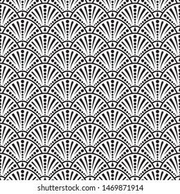 Art deco. Seamless pattern. Endless black and white pattern with fan tiles. Abstract repeating texture. Stylish beautiful background. Graphic geometric regular backdrop. Stylized wallpaper