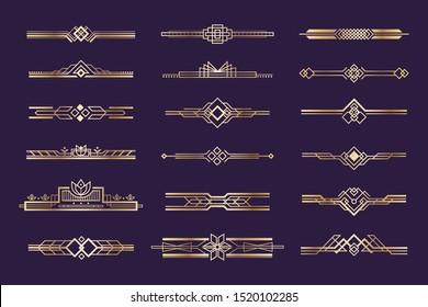 Art deco set. Vintage 1920s golden ornament, nouveau style headers and dividers, retro border element.  design golden art deco border template