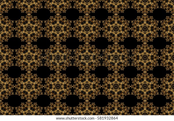 Art deco style. Black and gold seamless pattern. Raster illustration. Polka dots, confetti. Shiny backdrop. Abstract geometric modern background. Texture of gold foil.