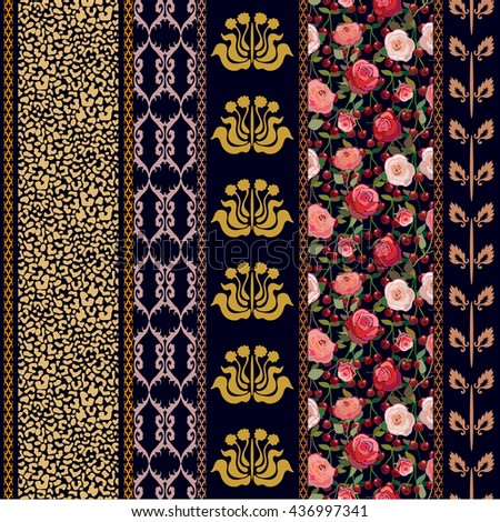 Art Deco Vintage Silk Wallpaper Ethnic Stock Illustration 436997341
