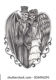 Art design skull wedding in love surreal fantasy. hand pencil drawing on paper.
