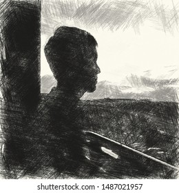 Art drawing black and white of lonely man