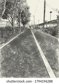 art drawing black and white of road in country Thailand