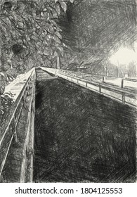 art drawing black and white of way in night time