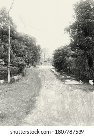 art drawing black and white of way in country Thailand