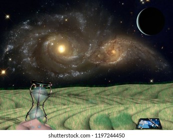 Art easel and hourglass on green field. Vivid galaxies in the starry space. 3D rendering